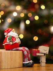 Danbo Gets a Present (wwarby) Tags: santa christmas wood slr table toy lights object character olympus christmastree christmaslights indoors cardboard presents christmasdecorations fatherchristmas digitalcamera e3 playful zuiko digitalslr christmaspresents cardboardbox danbo amazoncojp 50mmmacro zuikodigital olympuse3