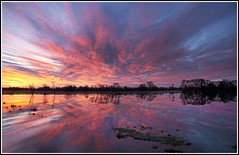 Fire In The Sky - Tadham Moor (CliveDodd) Tags: somerset moor levels floods tadham
