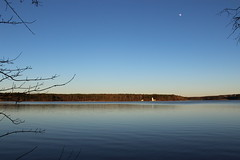 By the light of the January moon (Sam0hsong) Tags: moon water landscape day northcarolina clear lakecrabtree