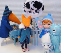 A Choir of Blues (Kewty-pie) Tags: bear blue red baby girl doll dress piano fox cape oreo coats custom stool inc zelf cossette showa drblythenstein littleredfox yarnhead