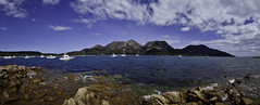 Panorama, Coles Bay (kris.mccracken) Tags: mountains holidays tasmania colesbay tasmaniaseastcoast krismccracken