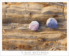 Colorful Pebbles, Layered Sandstone (G Dan Mitchell) Tags: ocean california park pink sea two beach nature closeup print point landscape sandstone colorful pattern purple state stock shoreline reserve pebbles strata license carmel intimate lobos weston vision:text=0513 vision:sunset=0659 vision:outdoor=0824 vision:sky=0725 vision:clouds=064