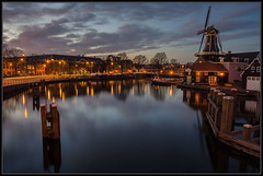 16-03-2014, Haarlem, When the evening falls.. (Koen langs de baan) Tags: pink blue sunset red sky mill haarlem water windmill spaarne de boats photography office nikon long bureau police iso fave explore photograph hour shutter 100 adriaan politie d7000