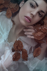 Romance (Ana Mereuta) Tags: water girl beautiful beauty look model mood romantic emotional leafs ophelia