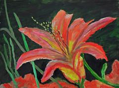 Mom's Daylily (BKHagar *Kim*) Tags: flowers art floral painting fun artwork paint acrylic withmom artday bkhagar