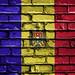 National Flag of Moldova on a Brick Wall