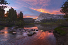 Lembert Dome Sunset (Forget Me Knott Photography) Tags: brianknott fmkphoto forgetmeknottphotography yosemite nationalpark yosemitenationalpark california tuolumnemeadows toulumne toulumneriver river creek stream lake water sunset sunrise colorful pink red orange reflection lembertdome dome meadow trees forest sierra clouds cloudy