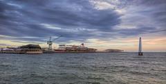 station pier sunset (Pwa25) Tags: stationpier portmelbourne beacon spirittasmania ship boat loading bay canon canon5d3 sunset outdoors clouds
