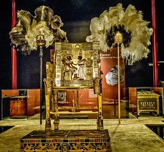 One of King Tutankhamun's golden throne chairs with image of the pharaoh and his wife Ankhesenamun New Kingdom 18th Dynasty Egypt 1332-1323 BCE (mharrsch) Tags: fan ostrichfeather pharaoh king ruler tutankhamun burial tomb funerary 18thdynasty newkingdom egypt 14thcenturybce ancient discoveryofkingtut exhibit newyork mharrsch premierexhibits gold