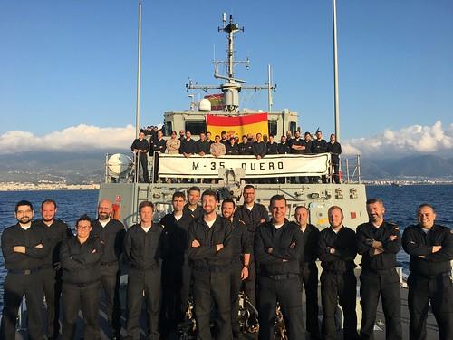Dotacion del cazaminas 'Duero' durante la participación en la agrupación naval permanente contra minas OTAN.