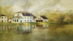 Wish I lived here !! (BirgittaSjostedt- away for a while.) Tags: mansion reflection water architecture spring springtime outdoor scene serene landscape park bird green greenery morning paint old texture birgittasjostedt digitalpainting magicunicornverybest