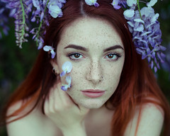 Purple dreams II (Litvac Leonid) Tags: flowers portrait italy outdoor nikon model redhead mood moody freckles ginger blossom daylight natural light freckled blooming ll photography litvac leonid