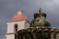 Fountain in Focus (tquist24) Tags: california nikon nikond5300 oldsantabarbaramission santabarbara architecture bokeh clouds fountain geotagged sky vacation water unitedstates