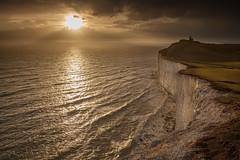 Sepia Belle Tout (JamboEastbourne) Tags: belle tout lighthouse south downs national park eastbourne east sussex england downland sunset sea chalk cliff cliffs