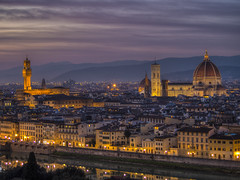 Florence (Wizard CG) Tags: italia toscana tuscany firenze florence cityscape piazzale michelangelo santa croce maria del fiore palazzo vecchio arno river sky cloud colour light epl7 architecture building skyline city world trekker ngc hdr dusk roof night sunset