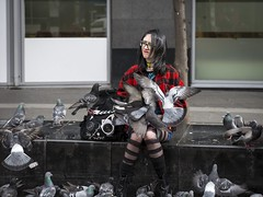 Cat Among The Pigeons (Leanne Boulton) Tags: urban street candid portrait streetphotography candidstreetphotography streetlife candidportrait young woman female girl face facial expression look emotion feeling mood atmosphere chaos chaotic feral wildlife wild bird birds pigeon pigeons feeding frenzy alternative style stylish fashion red wings motion action blur flight flying tone texture detail depth naturallight outdoor light shade shadow reflection city scene human life living humanity society culture people canon canon5d 5dmarkiii ef2470mmf28liiusm color colour glasgow scotland uk