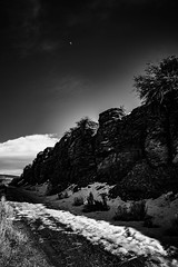 The Road (kylebagleyphotos) Tags: nature landscape rocky ellensburg ironhorsestatepark washington hike trail anseladams photography blackandwhite moon sky wilderness wildlife snow winter