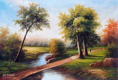 Autumn Woods, Art Painting / Oil Painting For Sale - Arteet™ (arteetgallery) Tags: arteet oil paintings canvas art artwork fine arts water green nature tree river landscape grass countryside scenic scenery forest season rural field outdoors landscapes forests lakes rivers lime flesh paint