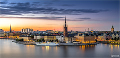 Summer evening in Stockholm, Sweden (AdelheidS photography) Tags: adelheidsphotography adelheidsmitt adelheidspictures sweden sverige svezia zweden schweden suecia sunset stockholm stad cityscape skyline bluehour cityview dusk city baltic harbour gamlastan oldtown estocolmo sky hat