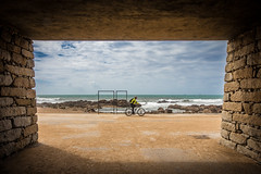 Path to the sea (Artur Tomaz Photography) Tags: sky blue bycicle cloud dof light oporto path rock sea sport tunnel water