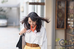 Young woman shopping in city, hair flipped (Apricot Cafe) Tags: img29606 asia asianandindianethnicities canonef85mmf18usm japan japaneseethnicity kyotocity kyotoprefecture bag casualclothing charming cheerful citylife day enjoyment freedom hairflip happiness horizontal lifestyles oneperson onlywomen outdoors photography relaxation scarf shopping smiling springtime street toothysmile waistup walking weekendactivities women youngadult