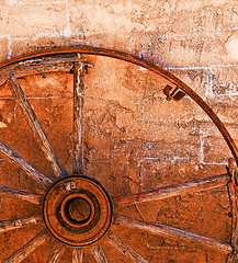 Retired (studioferullo) Tags: abstract art beauty bright colorful colors contrast design detail downtown edge light metal minimalism old outdoor outside perspective pattern pretty rust study sunlight sunshine street texture tone weathered world tucson arizona wagon wheel spoke brown ocher ochre round circle lines traildusttown wood