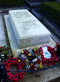 The burial of Winston Churchill and his wife Clementine