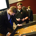 Student tries out arcade game project.