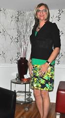 Green floral skirt outfit (leahjohns) Tags: crossdress cd crossdresser crossdressing tgirl tv transvestite miniskirt summerdress pencilskirt