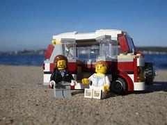 Beach Camper (captain_joe) Tags: sooc toy spielzeug 365toyproject lego minifigure minifig moc car auto beach strand wasser vwbus hasselfelde kiel