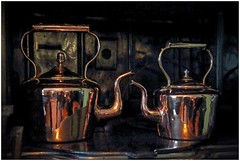 Two's company (bob the bolder) Tags: uk countydurham beamish museum 1940 farm kitchen kettle brass shiny