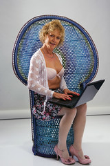 Agracar with a Lap-Top (David Blandford photography) Tags: agracar southampton laptop shutterworks model white bra pink shoes