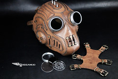 """This is the """"Predatorian Reloaded"""". One of our most popular designs reinvented. Hope you like it #steampunk #steampunkhat #handmade #LARP #dieselpunk #dark #Leather #costume #cosplay #tophat #leatherhat #haloween #haloweencostume (tovlade) Tags: face mask cyberpunk cyber goth make up goggles girl punk postapocalyptic postapocalypse black steampunk leather hand made larp cybergoth dieselpunk plague doctor"""