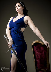 Wonder Women - Sabreena (7) (FightGuy Photography) Tags: sabreena studiob union206 wonderwomen dress studio bluedress sword longsword broadsword weapon blade fancydress brunette