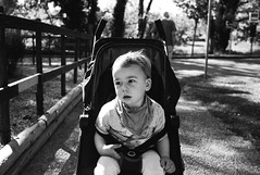 wee man in pushchair (gorbot.) Tags: leicam8 voigtlander28mmultronf19 mmount rangefinder blackandwhite monochrome louis illesurtet france
