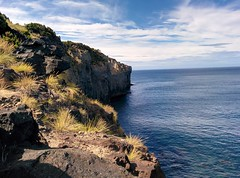 Coast of Terceira (CarlosLuso) Tags: azores açores trail walking trilho trilhos portugal caminhar caminhadas baías agualva terceira island sky cloud cloudy blue mountain stone rock coast sea ocean atlantic