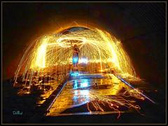 Underground Halo (lloydboy52) Tags: undergroundhalo underground halo steelwool burningwool spinningwool sparks sparktrails reflection tunnel steelarchtunnel urbex urbanexploration lightpainting firepainting paintingwithlight