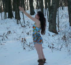 Gelfwings in the snow (thetab3) Tags: furboots snowboots tropical swimsuit swimwear snow gelfwings