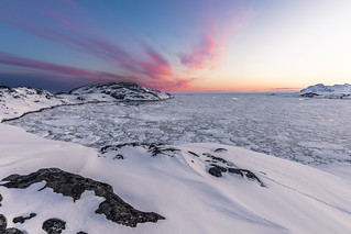 Pack ice after sunset