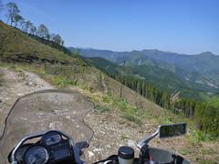 Ohnita skyline Rindou (mega_midget_racer) Tags: blue trees sky mountain tree green nature bike forest offroad bmw motorcycle touring gravel r1200gs