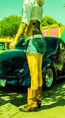 (Slow It Down Angie) Tags: woman classic girl legs skin boots tattoos shorts oldcar whiteshirt