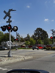 train crossing - flashing red lights (Lynn Kelley Author) Tags: railroadcrossing traincrossing flashingredlights lynnkelley lynnkelleyauthor curseofthedoubledigits bbhmcchiller monstermoonmysteries wanatribe