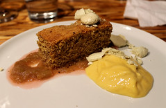 Almond-Cornmeal Cake (Bon Eats) Tags: food cake dessert almond event sake rhubarb meringue cornmeal sabayon boneats