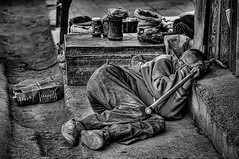 dreams of monotony (Eye.Ess.Ohh) Tags: people india monochrome happy nikon day shot culture dreaming leh d300 laddakh