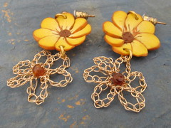 Yellow wire and polymer clay flowers (cindycreativecrochet) Tags: flower yellow stone beads wire handmade crochet jewelry canadian polymerclay earrings saskatchewan hessonite cindyscreativecrochet