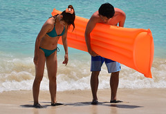 Looking For That Contact (Ctuna8162) Tags: woman beach japanese hawaii sand couple waikiki oahu sunny bikini honolulu