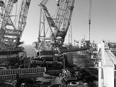 Jacket Piles (thulobaba) Tags: blackandwhite industry monochrome hammer construction marine lift crane offshore engineering cranes northsea heavy piling piles lifting saipem saipem7000 eldfisk