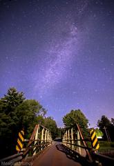 Milky Way (Adirondack Bridge) (10mmm) Tags: park old bridge sky cliff mountains night stars waterfall steel adirondacks deck galaxy astrophotography bluehour adirondack milkyway mooseriver