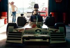 GP 73 Brabham Ford Watson v2 tc (R. Welch) Tags: new york ford film car pits race racecar geotagged shadows garage f1 racing grandprix watson formula1 ektachrome 1973 graflex watkinsglen brabham