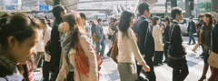 because I was there. (OFTO) Tags: street people panorama film japan 35mm fuji crossing streetphotography olympus stranger osaka umeda trip35 fujicolor xtra400 2013